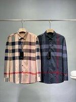 Men's Business Shirt Designer Custom Prestige Haute Quality Lettre Plaid Letter Impression Motif de broderie Risques Résistant Vêtements respirants 100kg