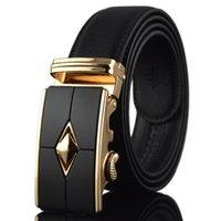 Gold Alloy Automatic Buckle business men's belt belts men high quality Slimming Cow genuine leather Waist Belt DFF5075