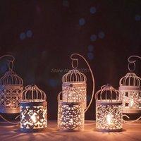 Tenedor hueco Candlestick Tealight Colgando Linterna Linterna Jaula de pájaros Vintage Caída de labones