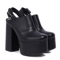 Women Cover Toe Back Strap Block Heel Shoes Slingback Mules With Buckle Street Style Gothic Platform Pumps Big Size Dress
