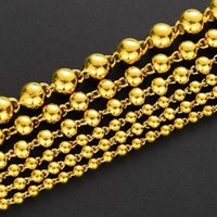 Chains Sand Gold Solid Light Beads Round Prayer Necklaces For Men Women Imitated Yellow 24k Couple Jewelry Wholesale