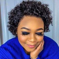 150% Density pixie curly short wigs 100% virgin lace front brazilian pixie cut wig human hair