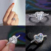 Victoria Wieck Klasik Lüks Takı 925 Ayar Gümüş Armut Kesim Beyaz Topaz CZ Elmas Promise Eternity Düğün Kalp Yüzük Kadınlar 41 N2