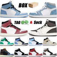 nike air jordan retro 1 off white أحذية كرة السلة عالية الجودة مع صندوق 2021 تتجمد 1 Jumpman Hyper Royal Chicago Twist Dark Mocha الرجال النساء المدربين أحذية رياضية