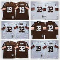 NCAA 축구 20 Barry Sanders Jersey 32 Jim Brown 19 Bernie Kosar Johnny Unitas 남자 빈티지 화이트 블루 모든 스티치 좋은