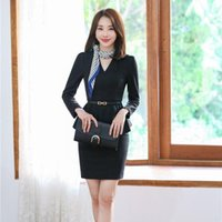 Women's Suits & Blazers Fashion Formal Black Blazer Women Business With Skirt And Jacket Sets Office Ladies Work Wear OL Styles