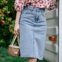 Yaz Kore Yüksek Bel Kadın Kot Etek Mavi Rahat Retro Slim Fit Geri Bölünmüş Diz Boyu Denim Etekler Kadın Moda 20191