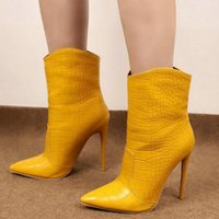 2020 New Women Ankle Boots Sexy Thin High Heel Pointed Toe Women Short Boots Slip on Ladies Fall Winter Shoes Big Size 34-43