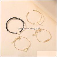 Link, Jewelrylink, Chain 4Pcs Set Heart Shaped Bangles Bracelet For Women Geometric Charm Bracelets Pseira Bohemian Party Beach Fashion Jewe