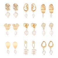 Pendientes de gota de oro de la vendimia para las mujeres 2019 Pendiente de gota geométrica grande DIY Boda Irregular Joyería de moda de la perla de agua dulce