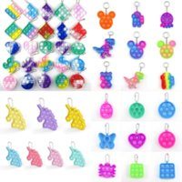 2021 Fidget Toy Sensory Jewelry key chains Push Bubble Cartoon simple dimple toys keychain stress reliever