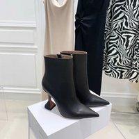 Fashion Season Shoes Amina Italy Muaddi Giorgia Ankle Boots High Sculpted Heel Side Zip Black Genuine Leather