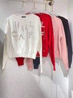 Najnowsze Designer CC Winter Women Sweter Bluzy CChen Marka Knit Swetry Kurtki Z Długim Rękawem Pearl Koszula Dzianiny Cardigan Płaszcze High-End Hooded Bluza Rozmiar SML