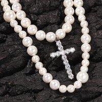Nuevos 2 capas personalizadas Blanco Pearl Cz Cz Cross Colgante Hombre Gargantilla Collar Miami Hip Hop Rapper Joyas Regalos para hombres Mujeres