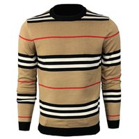 Men's Sweaters 2021 Sweater, Long-sleeved Knit Shirt, Autumn winter Striped Embroidered Bottom Intercolor Top, Coat