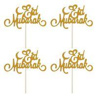 Festival Dekoration Papier Ramadan Mond Muslimischen Glitter Mubarak 1 stücke Eid Mubarak Kuchen Topper Cupcake Flaggen Islamic Gold DIY GWD6211