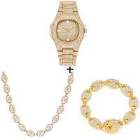 Uhr + Kette + Armband Hip Hop Kaffee Euro aus Legierung Bohnenschwein Nase Strass Halskette Kette Bling Halsketten Für Männer Schmuck