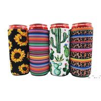 17 * 8.5cm Can Cooler Dünne Kühler Isolatoren Neopren-Getränk-Bierkühler-zusammenklappbare Cola-Flasche Koozies Cactus Leopard Can Sleeve FWE6165