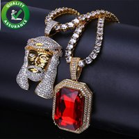 Mens Hip Hop Jewelry Iced Out Pendant Cuban Tennis Chain Luxury Designer Necklace Mens Women Fashion Charms Gold Mini Square Red Gem Crystal