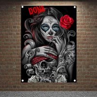ローズタトゥーの女の子ポスタータペストリーHDの壁紙家の装飾の頭蓋骨タトゥーアートバナーの旗の壁掛け飾りキャンバス絵画