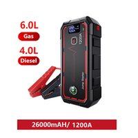2021 Battery Booster - 1200A 26000mAh Portable Jump Starter Car JumpStarter with Clamps LED Lamp Moving Fast Charging USB Type-C Port 12V 6.0L Gasoline 4.0L Diesel X4