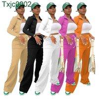 Women Tracksuits Two Piece Set Designer Zipper Jacket Coat Wide Leg Pants Solid Colour SportSuit Stand Collar Bucket Pants Ladies Sportwear