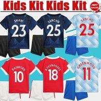 Fotbollströjor # 7 Ronaldo # 25 Sancho # 11 Greenwood Kids Kit Home Red Soccer Jersey 21/22 # 10 Rashford Child Away Fotbollskjorta 2021/2022 # 6 Pogba 3rd Uniform