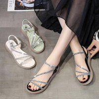 Sandals Beige Heeled Clear Shoes 2021 Summer Soft Black Low Fashion Girls Rhinestone Comfort Gladiator Rome Rubber PU Solid