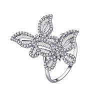 Dos mariposas Anillos de diamantes de zircón para mujeres de color oro blanco boda boda banda de compromiso de cóctel de joyería de cocktail regalos brillantes Cluster 1002 Q2