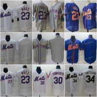 Mens 23 Javier Baez Baseball Jerseys 30 Michael Conforto 34 Noah Syndergaard Jersey Stitched Flexbase Cool Base Team White Blue Gray