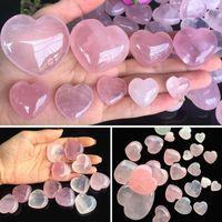 Natural Rose Quartz Shaped Pink Carved Palm Love Healing Gemstone Lover Gife Stone Crystal Heart Gems IQ5O