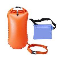 Life Vest & Buoy 1 Set Orange Thickened Inflatable Life-saving Bag Adult Double Airbag Handles Float Long Waist Strap Drifting Storage
