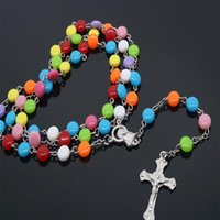 Pendant Necklaces Fashion Handmade Colored Glass Beads Rosary Catholic Quality Cross Necklace Religious
