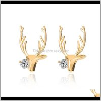 Stud Jewelrydeer Antlers Alloy Women Earrings Gold White K Colors Elk Point Ear Rings Fashion Jewelry Drop Delivery 2021 8Ax7O