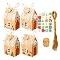 Gift Wrap 24 Sets Christmas House Box Kraft Paper Cookies Candy Bag Snowflake Tags 1-24 Advent Calendar Stickers Rope