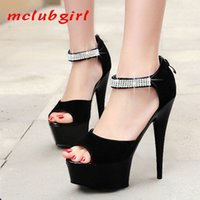 Mclubgirl 15cm Heels Style Stiletto High Heel Fish Mouth Shoes Frosted Leather Water Drill Waterproof Platform Sandals LYP 210507