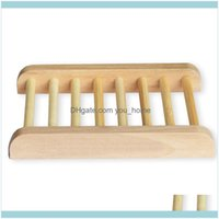 Aessories Bath & Gardenwholesale Natural Bamboo Home Use Storage Holder Dishes Wooden Craft Bathroom Tray Soap Rack Box Container Dh0179 Dro