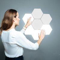 Lámpara de pared LED DIY Dormitorio Hexagonal Decoración Noche Luz Touch Touch Sensor Magnético Tablero Quantum