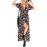 Women's Swimwear Style Print Women Maxi Dress Elegant Sexy Fashion Deep V Neck Formal Long Clubwear