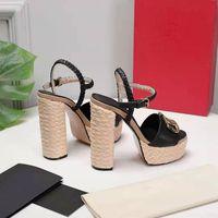 2021 Super High Heel Sandalias para mujer Sandalias de moda Diseñador único Vestido puntiagudo Vestidos de novia Sexy Paja Cuerda de cáñamo impermeable Mesa Tacones Tacones