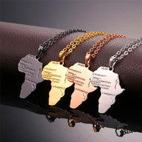 2020 New Multicolor Africa Map Jewelry Plated African Country Pendant Necklace Stainless Steel Necklace Hip Hop Jewelry