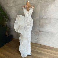 Luxury Pearls Mermaid Wedding Dresses Lace Beading Sheer Jewel Neck Modest Bridal Dress Floor Length Vestido De Noiva