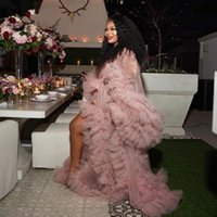 Casual Dresses Pography Robes Tiered Dusty Pink Abiye Gorgeous Maternity Wear Tulle Evening Gown Long Vestido De Festa Longo