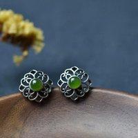 Stud Original Designer Craftsmanship Handmade Filigree Unique Jasper Earrings Chinese Retro Charm Women's Brand Silver Jewelry
