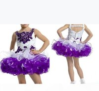 2019 Custom Glitz Cupcake Girl Pageant Dresses Toddler Spaghetti Neck with Beaded Crystal Purple and White with Bow Kids Prom Ball Gown