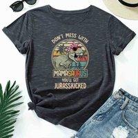 Jcgo Sommer Baumwolle Frauen T-shirt 5XL plus Größe Dinosaurier Buchstaben Drucken Kurzarm Grafik T-Stück Tops Casual O-Neck Weibliche T-Shirt 210325