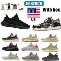 Na US Warehouse Kanye West Correndo Tênis Yeezy Qualidade Top Quality Yechheil Cinzer Cauda Cauda Luz Creme Branco Preto Vermelho Zebra Sneakers Homens Tamanho 38-46 com meia duna