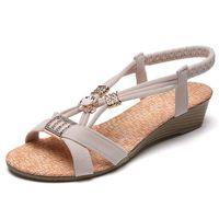 Sandals Slip On Wedge Women Summer Shoes Black Beige Bohemia Beaded Low Heels Female Casual Sandalias Mujer XKD4291