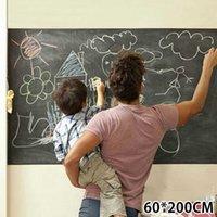 200 * 60 cm Kara Tahta Kendinden Yapışkanlı Blackboard Duvar Sticker Su Geçirmez Çıkarılabilir Kullanımlık Siyah Kurulu Poster ile 5 Renk Tebeşir 210705