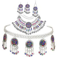 Earrings & Necklace Bohemian Vintage Alloy Belly Chains Earring Hair Clips Sets Coin Tassel Colorful Crystal Afghan Turkish Jewelry Gift